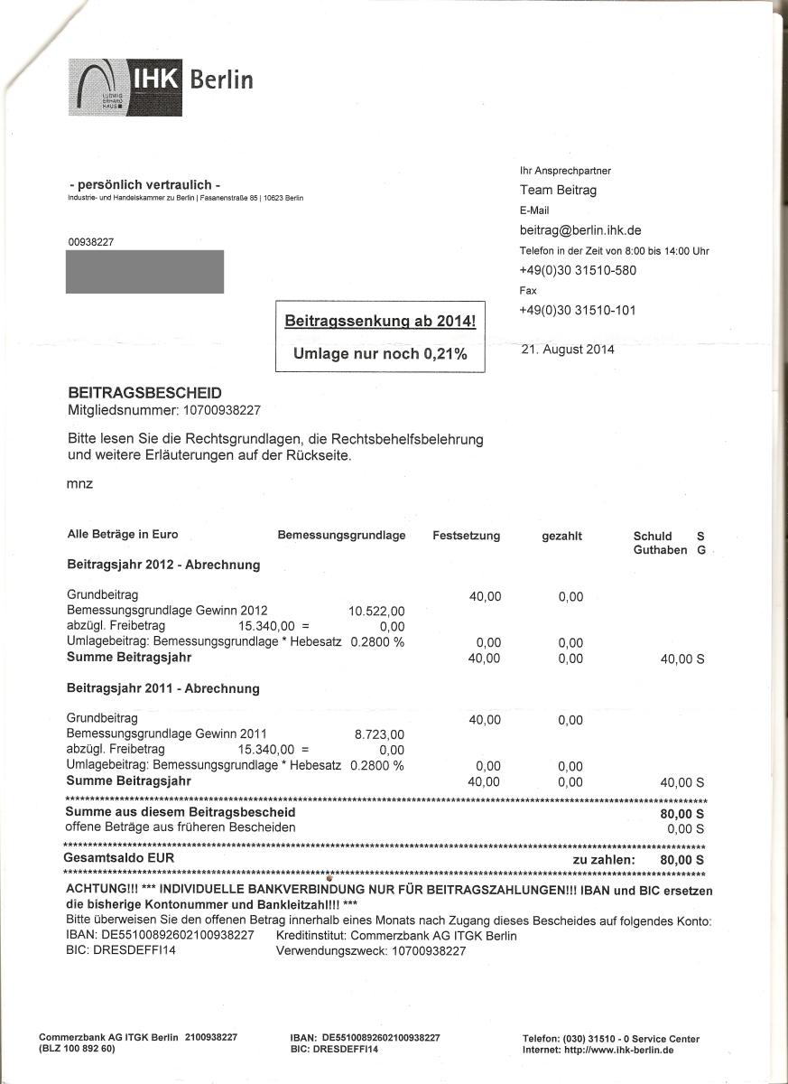 Briefverkehr mit der IHK Berlin