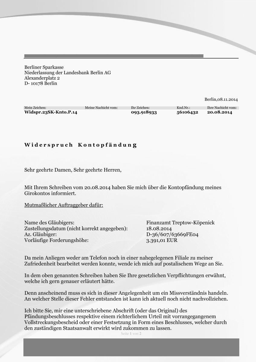 Briefverkehr mit der Berliner Sparkasse zur Kontopfändung