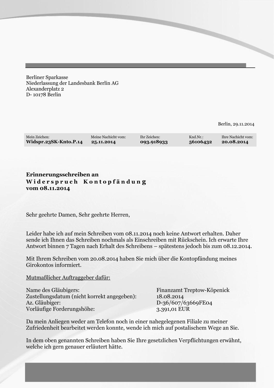 Kontopfändung Berliner-Sparkasse - Einschreiben-1