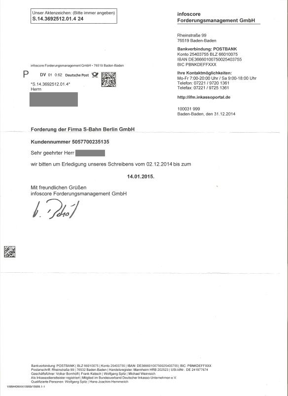 Briefverkehr Mit Infoscore Forderungsmanagementarvato Infoscorebfs