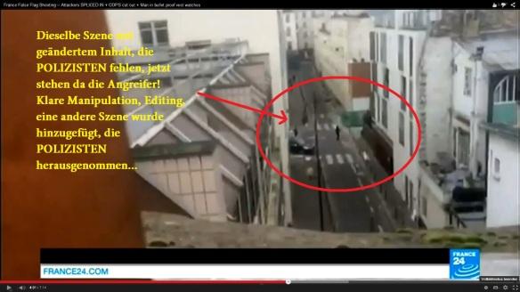 Charlie Hebdo Split Screen France 24 Manipulation 2 Angreifer am selben Ort, wo die POLIZISTEN liefen