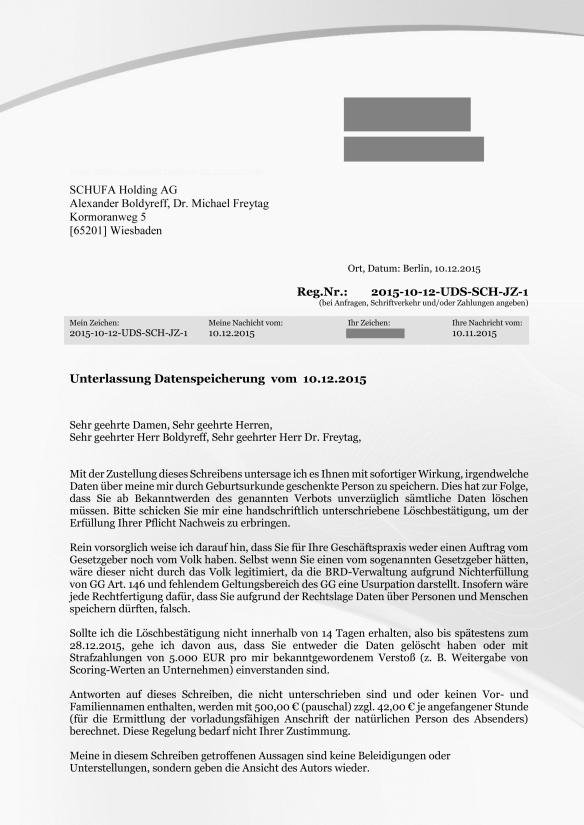 SCHUFA Unterlassung Datenspeicherung Reg.Nr.2015-10-12-UDS-SCH-JZ-1 Seite_1