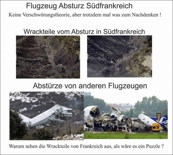 Vergleich von Flugzeugabsturzbildern