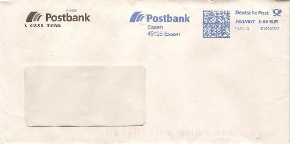 Antwort der Postbank vom 14.07.2015 Briefumschlag