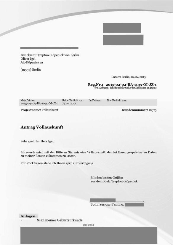 Beantragung einer Vollauskunft aus dem Melderegister