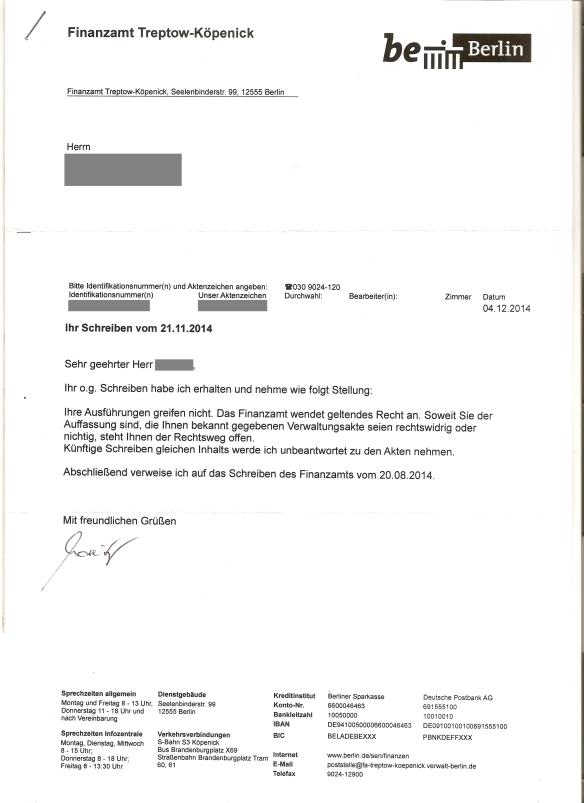 Antwort FA auf Einschreiben 04.12.2014