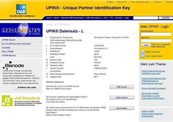 UPIK Eintrag der Firma Bezirksamt Treptow-Köpenick von Berlin Alt-Köpenick 21