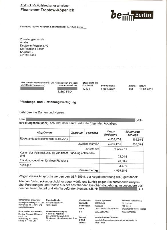 FA Pfändungseinziehungsverfügung Postbank vom 19.01.15 Seite _01