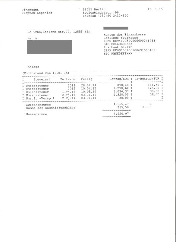 FA Pfändungs- und Einziehungsverfügung Postbank vom 19.01.2015 Anlage