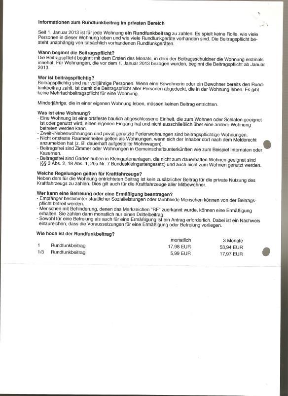 GEZ Bestätigung der Anmeldung 23.04.2014 Rückseite