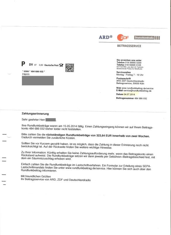 Briefverkehr Mit Dem Beitragsservice Ard Zdf Deutschlandradio Gez