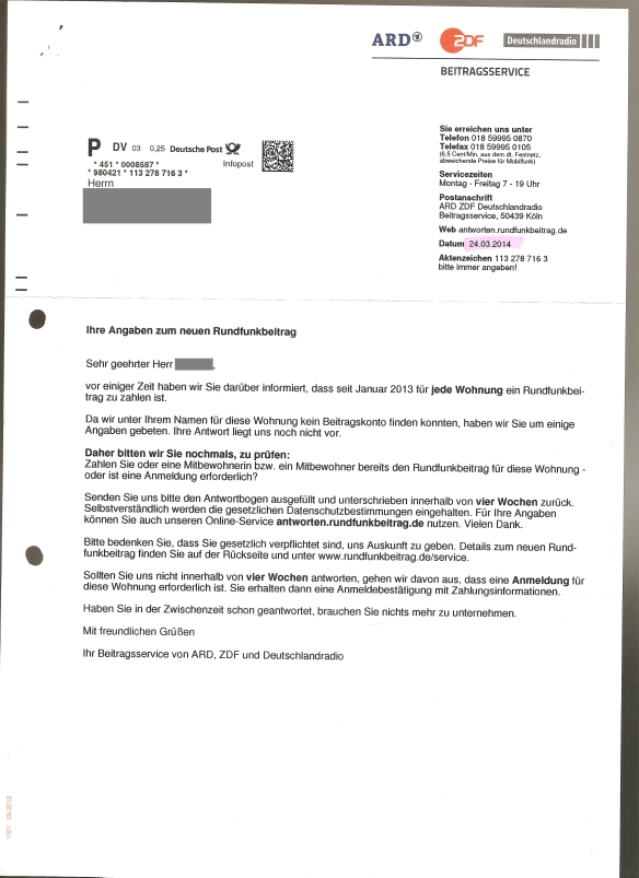 Ihre Angaben zum neuem Rundfunkbeitrag 24.03.2014