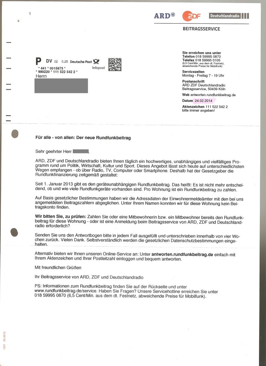 Briefverkehr mit dem Beitragsservice ARD ZDF Deutschlandradio (GEZ)
