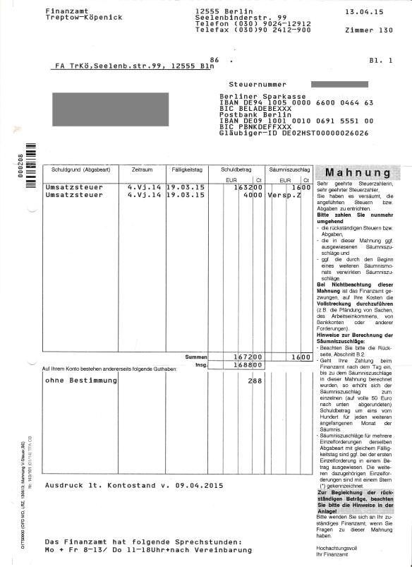 Mahnung Umsatzsteuer 4. Quartal 2014 vom 13.04.2015