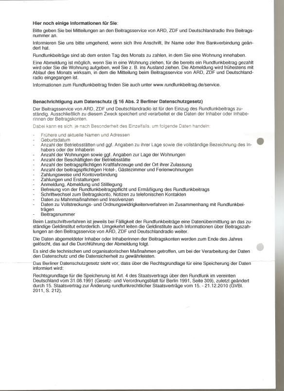 Zahlung der Rundfunkbeiträge 02.05.2014 Rückseite