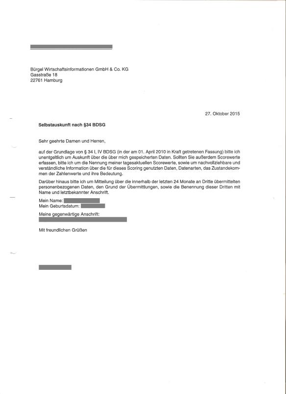 Bürgel Wirtschaftsinformationen Anfrage Selbstauskunft 27.10.2015