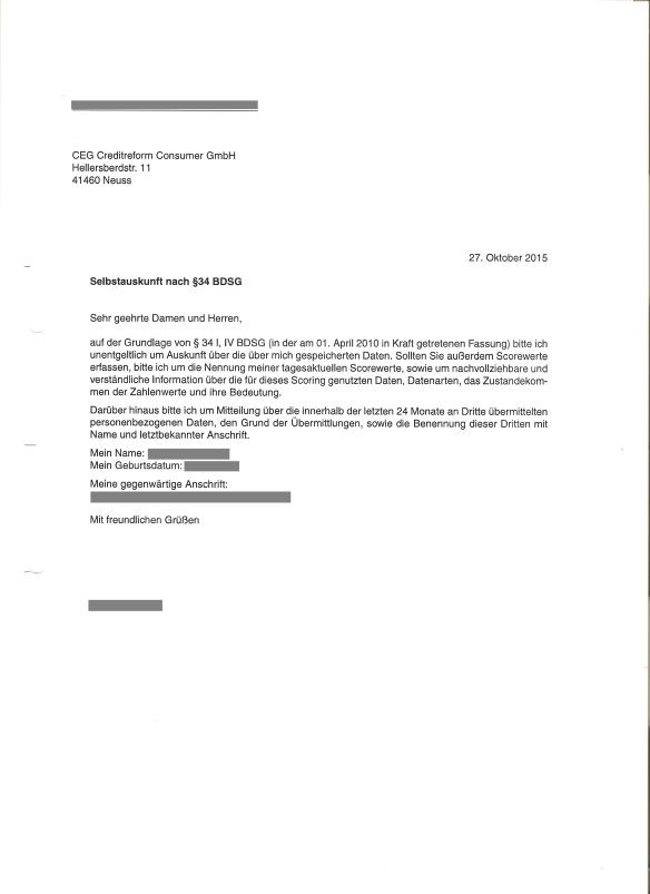 CEG Creditreform Anfrage Selbstauskunft 27.10.2015