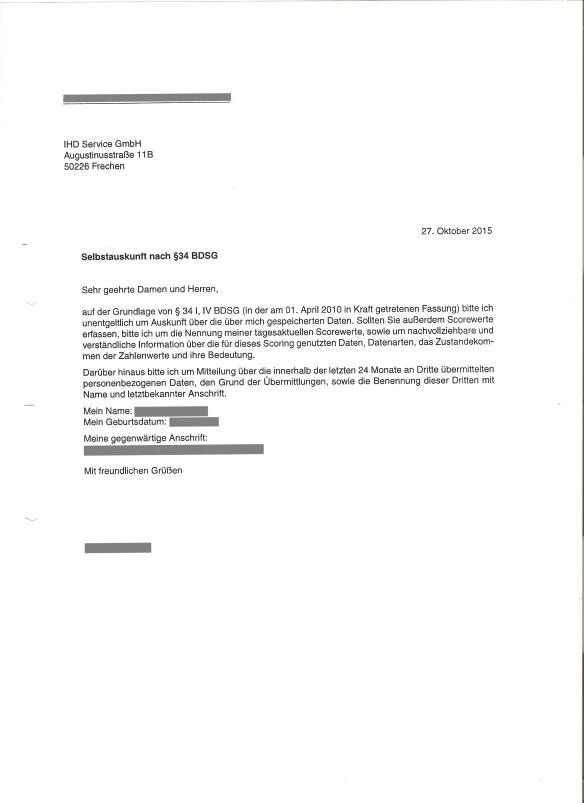 IHD Service Anfrage Selbstauskunft 27.10.2015