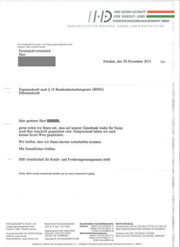 IHD Service Antwort Selbstauskunft 30.11.2015