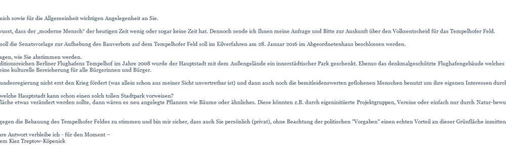 Anfrage Volksentscheid zum Tempelhofer Feld
