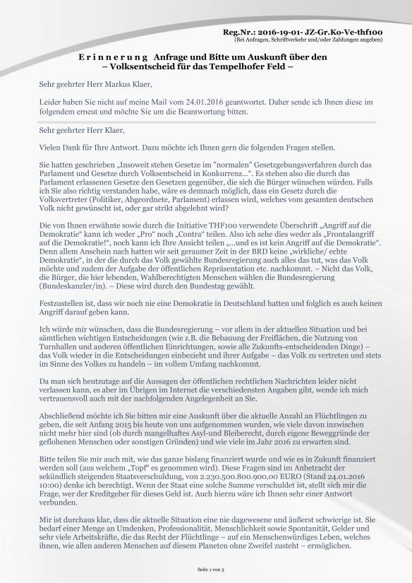 Seite 1 der Anlage Erinnerung vom 19.02.2016 zur Anfrage Volksentscheid zum Tempelhofer Feld