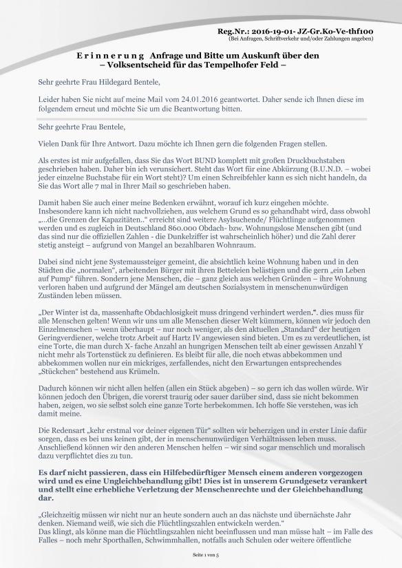 Anlage Seite 1 Erinnerung vom 19.02.2016 zur Anfrage Volksentscheid zum Tempelhofer Feld