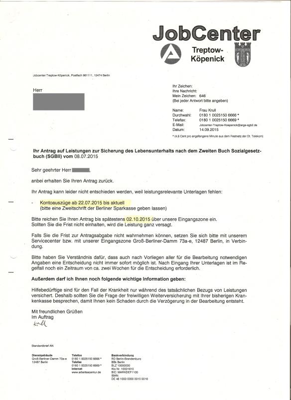 Antwort auf Antrag AEG II - Kontoauszüge 14.09.2015