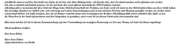 Antwort Irene Köhne