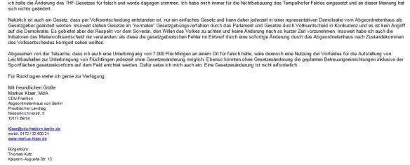 Antwort Markus Klaer MdA CDU-Fraktion