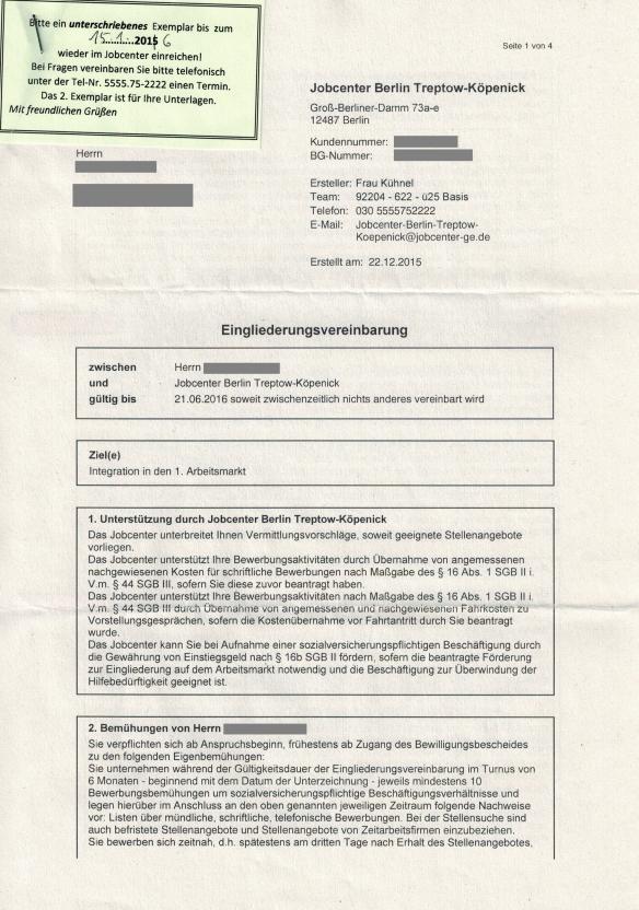 briefverkehr mit der bundesagentur für arbeit – jobcenter berlin, Einladung