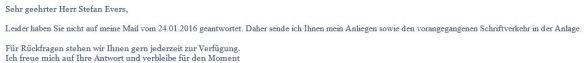 Erinnerung an Mail vom 24.01.2016