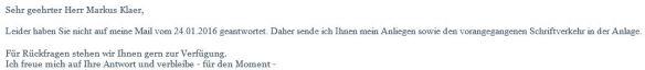 Erinnerung vom 19.02.2016 zur Anfrage Volksentscheid zum Tempelhofer Feld