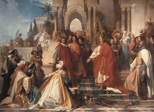 Abb.: Hof Kaiser Friedrich II. in Palermo. Im Hintergrund sieht man die Flagge und der Kaiser ist ebenso in Rot und Gold gekleidet, mit schwarzen Adlerwappen