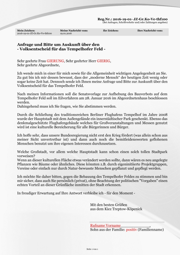 MUSTERVORLAGE Volksentscheid zum Tempelhofer Feld - BLANKO