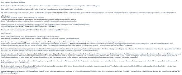 Teil 1 meiner Antwort vom 13.02.2016 an Daniel Buchholz