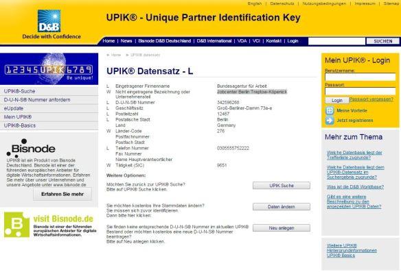 UPIK-Eintrag Bundesagentur für Arbeit - Jobcenter Berlin Treptow-Köpenick