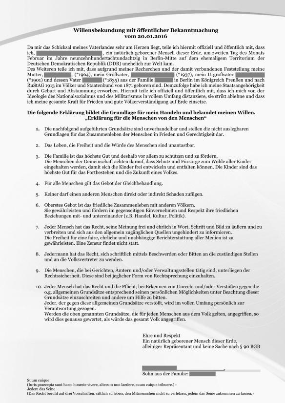 Willensbekundung mit öffentlicher Bekanntmachung 20.01.2016