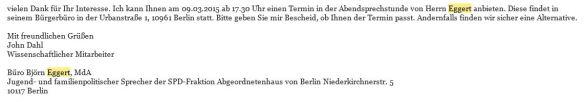 Antwort vom 22.02.2016 zur Terminvereinbarung John Dahl iA Björn Eggert