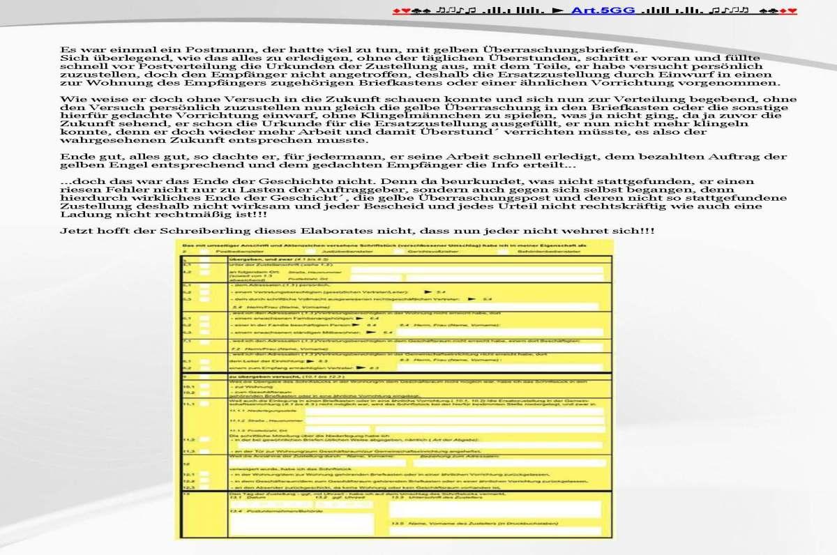 Infos zur Postzustellungsurkunde