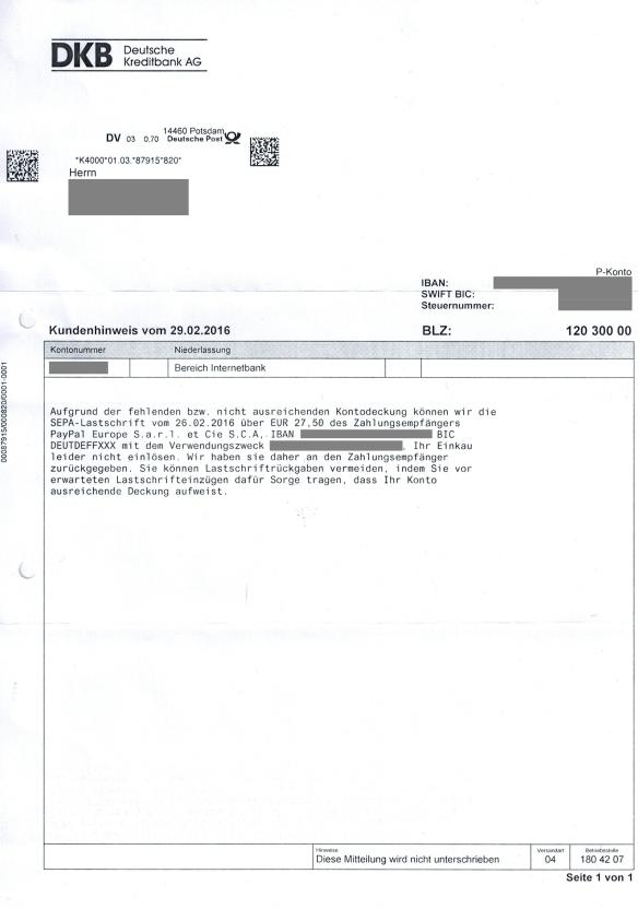 Kundenhinweis vom 29.02.2016