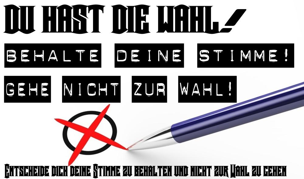 Du hast die WAHL! behalte deine Stimme und gehe nicht wählen!